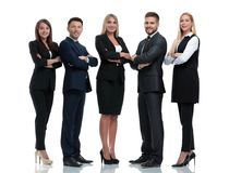 Długi portret grupa ludzie biznesu, odizolowywająca na bielu obraz stock