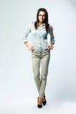 Długi portret młody uśmiechnięty bizneswoman Zdjęcie Stock