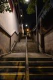 Długi schody przy nocą Zdjęcia Royalty Free