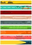 Długi sztandaru tło ustawiający z samochodowymi motywami. Obraz Stock