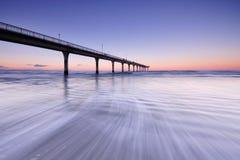 Długi ujawnienie fala przy Nową Brighton plażą Zdjęcia Stock