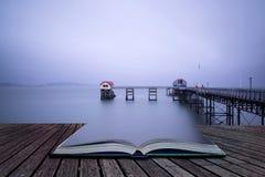 Długi ujawnienie krajobraz Wiktoriańskiego mola witn nieba markotny concep Fotografia Royalty Free