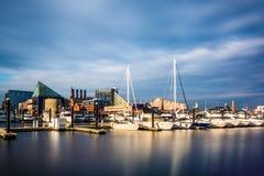 Długi ujawnienie marina przy Wewnętrznym schronieniem, Baltimore, Maryla Obraz Stock