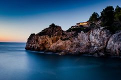 Długi ujawnienie przy domem w Mallorca zdjęcie stock