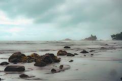 Długi ujawnienie woda morska na plaży obraz royalty free