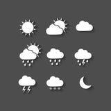 Długie cienia stylu pogody ikony Fotografia Royalty Free