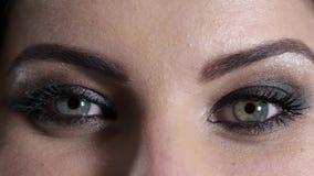 Długie rzęsy na oczach piękna kobieta z eleganckim makijażem zbiory