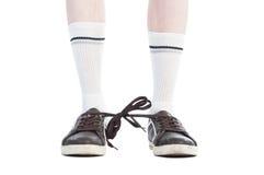 Długie skarpety i obuwiane koronki wiązali wpólnie psotę Zdjęcia Stock