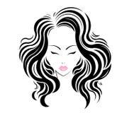 Długie włosy stylowa ikona, logo dziewczyn twarz Obraz Stock