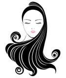 Długie włosy stylowa ikona, logo kobiet twarz Zdjęcia Stock
