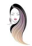 Długie włosy stylowa ikona, logo kobiet twarz Zdjęcie Stock