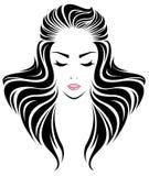 Długie włosy stylowa ikona, logo kobiet twarz Zdjęcia Royalty Free