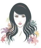 Długie włosy stylowa ikona, logo kobiety stawia czoło i kwiaty Zdjęcie Royalty Free