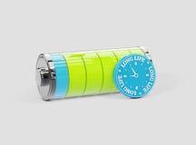 Długie Życie bateria, długi energetyczny pojęcie, 3d ilustracja Zdjęcia Royalty Free