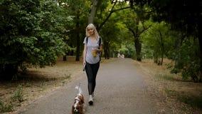 Długiej blondynki z włosami młoda kobieta w czarnych leggings i plecaka odprowadzenie greem parkiem z jej zwierzęciem domowym lea zbiory