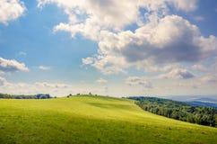 Długiej zieleni łąka z dużymi chmurami Obraz Stock
