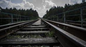 Długość kolejowy ślad Zdjęcia Royalty Free
