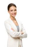 Długość portret żeński biznesowy mężczyzna z rękami krzyżować Zdjęcia Royalty Free