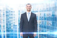 Długość portret smiley biznesowy mężczyzna obrazy stock