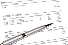 długopisy telefon rachunek Zdjęcia Stock