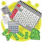 Długu pojęcia płaski projekt Oszczędzanie pieniądze dla płacić rachunki Biznesu, finanse i inwestyci pojęcie, monet pojęcia ręk p Obraz Royalty Free