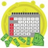 Długu pojęcia płaski projekt Oszczędzanie pieniądze dla płacić rachunki Biznesu, finanse i inwestyci pojęcie, monet pojęcia ręk p Obraz Stock