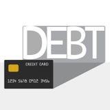 Długu pojęcie Kredytowej karty długu cień Zdjęcia Royalty Free
