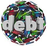 Długu słowa Kredytowej karty pieniądze Balowy Bankrutujący problem ilustracja wektor