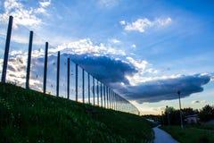Dźwiękochłonny szkło ekran wzdłuż drogi w centrum miasta Czerń kontury ptaki na szkle Tło Fotografia Royalty Free