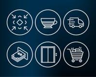 Dźwignięcia, mokki i ciężarówki dostawy ikony, Bagatelizuje, Atm pieniądze i wózek na zakupy znaki Zdjęcia Royalty Free