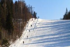 Dźwignięcie dla, skłon dla narciarstwa i zdjęcie royalty free