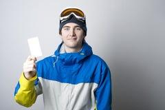 Dźwignięcie przepustka z zima sportów entuzjastą zdjęcia stock