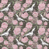 Dźwigowi ptaki, kwiaty, ręka pisać tekst bezszwowy kwiecisty wzoru akwarela royalty ilustracja