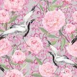 Dźwigowi ptaki, peonia kwiaty Kwiecisty wielostrzałowy ornamentacyjny wzór akwarela ilustracja wektor