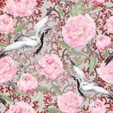 Dźwigowi ptaki, peonia kwiaty Kwiecisty wielostrzałowy ozdobny wzór akwarela royalty ilustracja