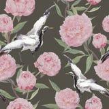 Dźwigowi ptaki, peonia kwiaty tła target926_0_ kwiecisty akwarela ilustracji