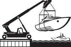 Dźwigowy wszczyna jacht w wodzie royalty ilustracja