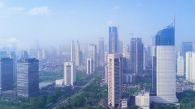 Dżakarta śródmieście w mglistym ranku Zdjęcie Royalty Free