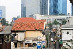 Dżakarta Indonezja, Grudzień, - 31: Smutna rzeczywistość, domy z Zdjęcie Royalty Free