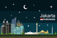 Dżakarta pejzaż miejski przy nocą Fotografia Royalty Free