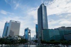 Dżakarta pejzaż miejski z drapaczami chmur z niebieskim niebem w środkowym śródmieściu Fotografia Royalty Free