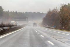 Dżdżysta autostrady sceneria Obraz Royalty Free