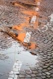 Dżdżysta jesieni kałuża obraz stock