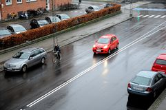 DŻDŻYSTA pogoda W KOPENHAGA DANI Fotografia Stock