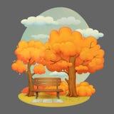Dżdżysty jesień dzień w parku, drzewach, krzakach i chmurnym niebie, ilustracja wektor