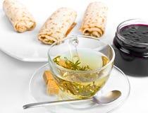 dżemu ziołowy blin stacza się herbaty trzy Fotografia Royalty Free