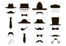 Dżentelmen ikona - kapelusze, wąsy, drymba, łęk Obrazy Stock