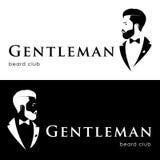 Dżentelmenu logotyp, broda klub ilustracja wektor