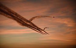 Dżetowi samoloty Przy półmrokiem obraz royalty free