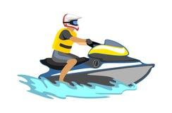 Dżetowy narty wody ekstremum bawi się, odizolowywał, projekta element dla wakacje aktywności pojęcia, kreskówka falowy surfing, m Obraz Stock